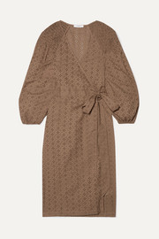 Marysia Pink Sands broderie anglaise cotton wrap dress