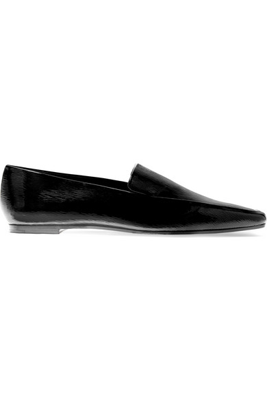 THE ROW MINIMAL TEXTURED PATENT-LEATHER LOAFERS