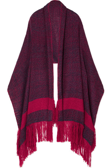 MELT Fringed Wool And Camel-Blend Wrap in Red
