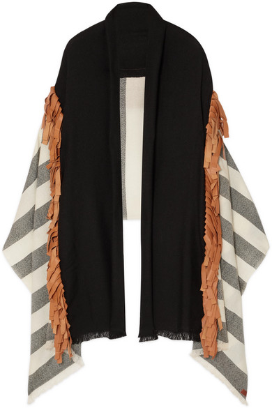 MELT Fringed Leather-Trimmed Striped Wool Wrap in Black