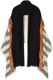 Fringed leather-trimmed striped wool wrap