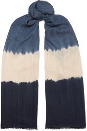Tara tie-dyed cashmere and silk-blend scarf