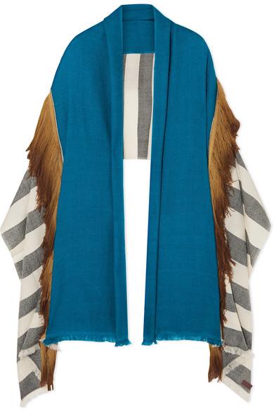 MELT Fringed Striped Wool Wrap in Camel