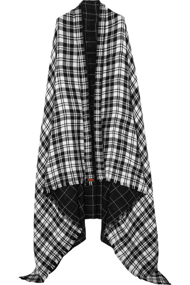 MELT Kalpita Fringed Checked Wool And Quilted Cotton Wrap in Black