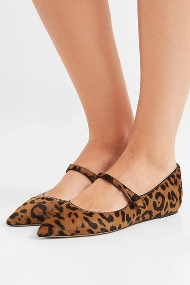 Tabitha Simmons | Hermione Kappe flache Schuhe mit spitzer Kappe Hermione aus Kalbshaar mit Leopardenprint fea110