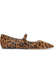Hermione leopard-print calf hair point-toe flats