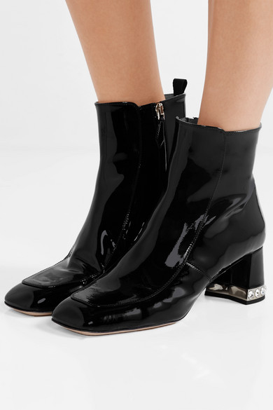 a4cefd74dc1f Miu Miu. Crystal-embellished patent-leather ankle boots