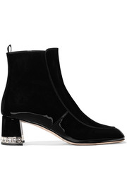 Miu Miu Crystal-embellished patent-leather ankle boots