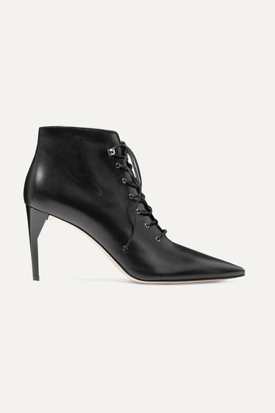 Lace Up Leather Ankle Boots by Miu Miu