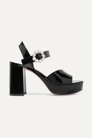 Miu Miu Crystal-embellished patent-leather platform sandals