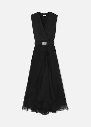 BRUNELLO CUCINELLI Sleeveless Belted Silk Wrap Cocktail Dress W/ Chiffon Bottom in Black