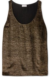 Brunello Cucinelli Metallic ribbed jersey top