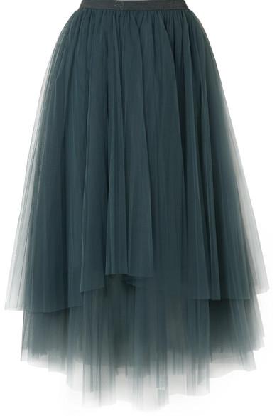 Brunello Cucinelli - Embellished Layered Tulle Midi Skirt - Petrol