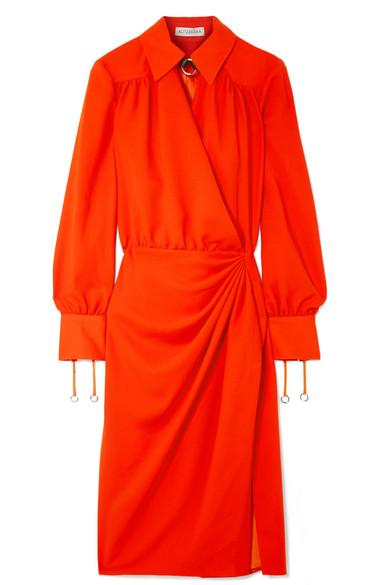 Altuzarra - Kat Leather-trimmed Draped Crepe Midi Dress - Bright orange