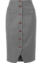 Pinstriped wool-blend pencil skirt