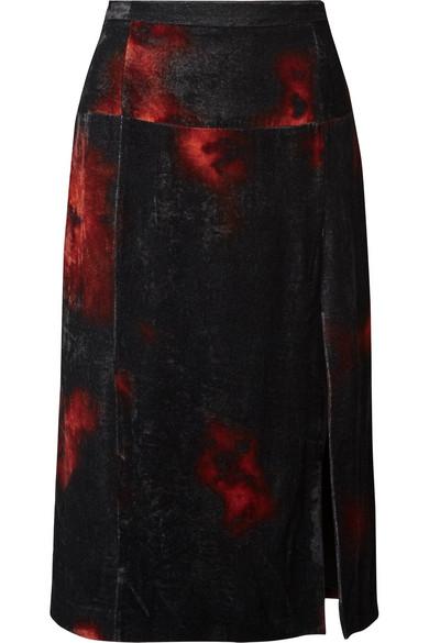 Altuzarra - Printed Crushed-velvet Midi Skirt - Black