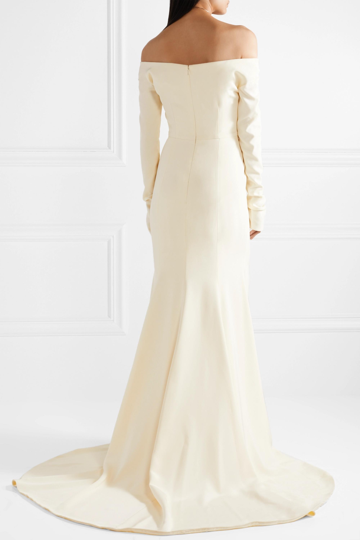 Danielle Frankel Off-the-shoulder pearl-embellished silk-crepe gown
