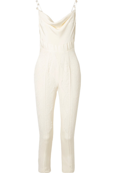 DANIELLE FRANKEL PEARL-EMBELLISHED CHANTILLY LACE-TRIMMED SILK CREPE DE CHINE JUMPSUIT