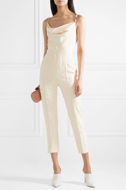 Pearl-embellished Chantilly lace-trimmed silk crepe de chine jumpsuit