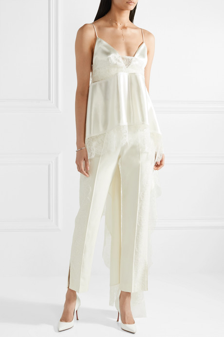 Chantilly lace-trimmed silk and wool-blend satin camisole