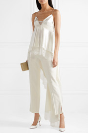 Chantilly lace-trimmed silk and wool-blend tapered pants