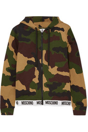 Camouflage-print cotton-jersey hoodie