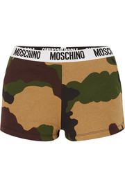 Camouflage-print cotton-jersey boy shorts