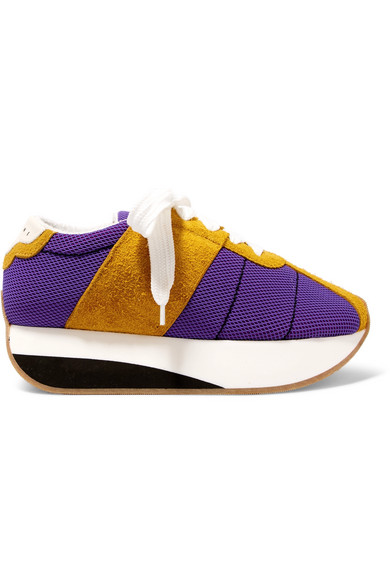Marni - Mesh And Suede Platform Sneakers - Purple