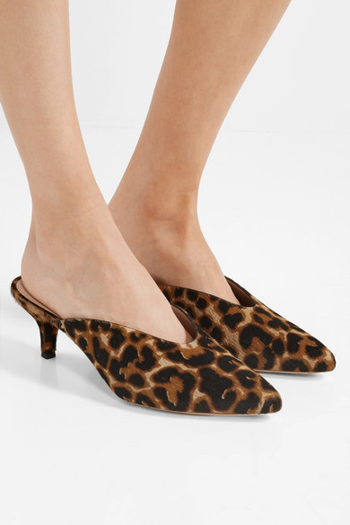 Juno Leopard Print Calf Hair Mules by Loeffler Randall