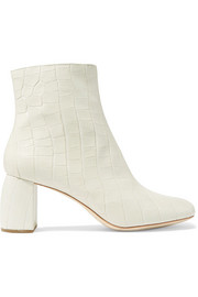 Cooper snake-effect leather ankle boots
