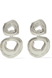 Double Whirlpool white bronze earrings