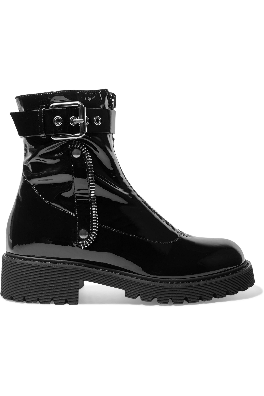 Black Patent-leather combat boots