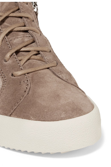 Giuseppe Zanotti Sneakers Shearling-trimmed suede sneakers