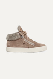 Shearling-trimmed suede sneakers