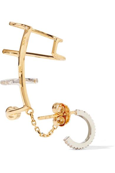 Maria Black Ines Blanc Convertible 14-karat Gold, Rhodium-plated And Diamond Ear Cuff