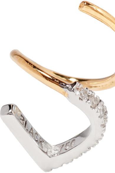 Bela Blanc Twirl 14-karat Gold, Rhodium-plated And Diamond Earring - R Maria Black