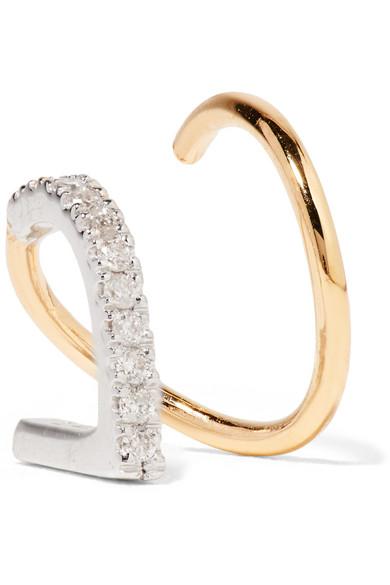 BELA BLANC TWIRL 14-KARAT GOLD, RHODIUM-PLATED AND DIAMOND EARRING
