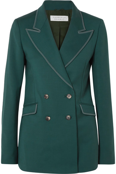 Gabriela Hearst - Angela Double-breasted Wool-blend Blazer - Green