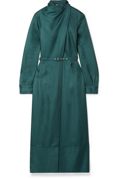 Gabriela Hearst - Josefina Belted Draped Silk-satin Midi Dress - Teal