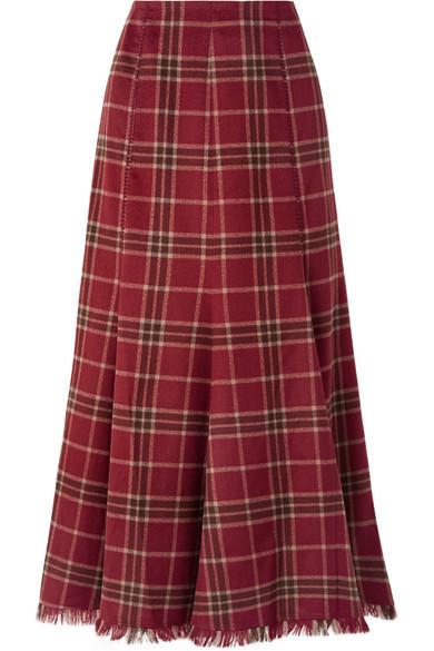Gabriela Hearst - Amy Pleated Tartan Cashmere And Silk-blend Skirt - Red