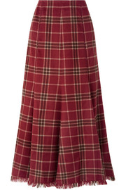 Amy pleated tartan cashmere and silk-blend skirt