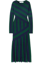 Gabriela Hearst Felicia pleated striped stretch wool-blend midi dress