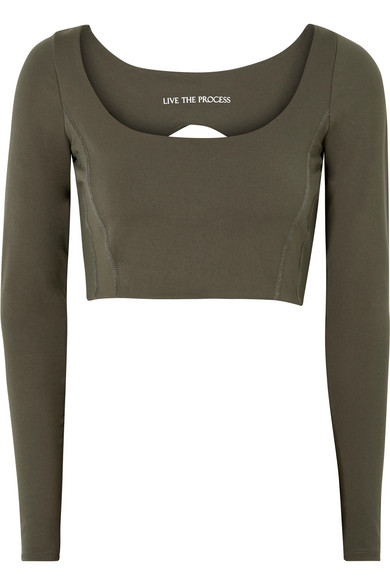 LIVE THE PROCESS Transcend Open-Back Stretch-Supplex Top in Army Green