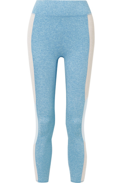 WE/ME The Center Cropped Striped Stretch-Jersey Leggings in Light Blue