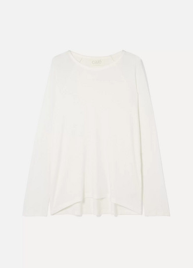 CALÉ Noelle Ribbed Stretch-Modal Jersey Sweater in White