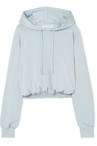 CALÉ Chloe Cropped Shirred Jersey Hoodie in Blue
