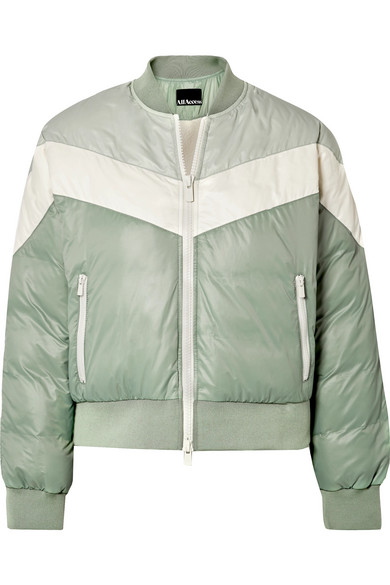 ALL ACCESS Tour Color-Block Quilted Shell Down Bomber Jacket in Gray Green