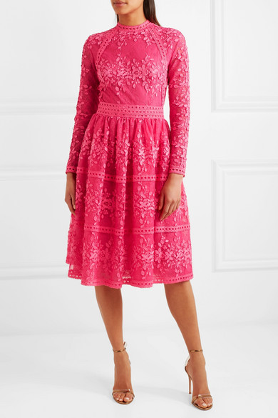 Lace Trimmed Embroidered Tulle Dress by Costarellos