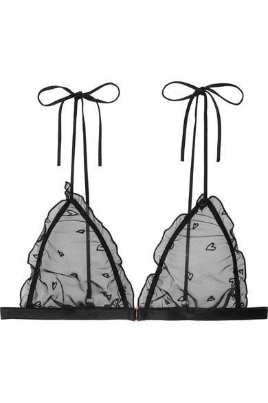 LE PETIT TROU Cerise Ruffled Flocked Stretch-Tulle Soft-Cup Triangle Bra in Black