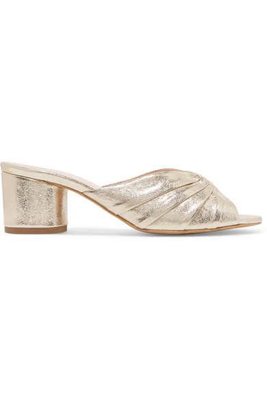 LE PETIT TROU Stephanie Metallic Textured-Leather Mules in Gold